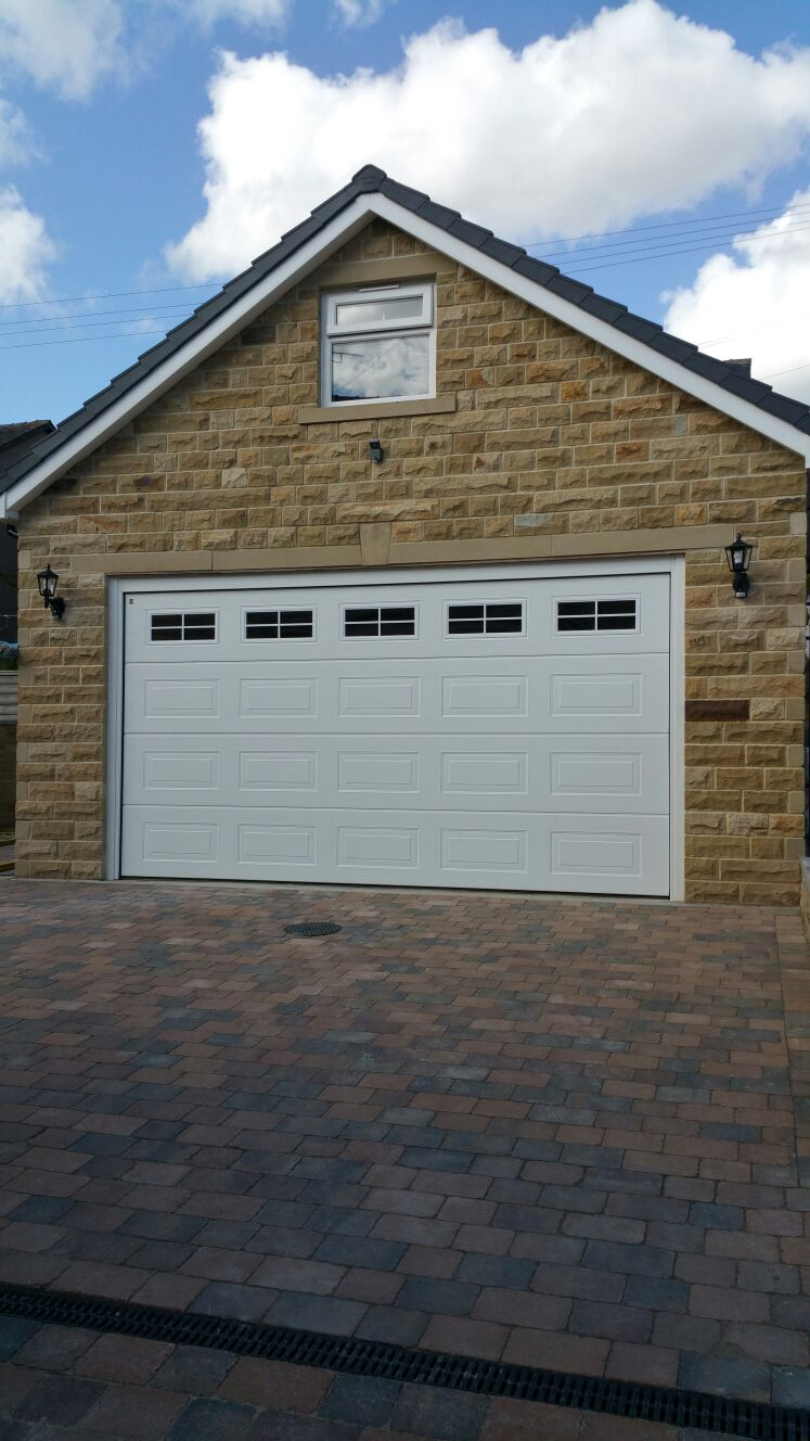 Detached double stone garage with office above for Detached home office